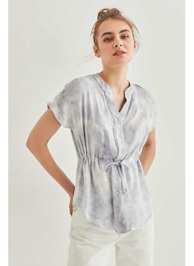 Vitrin Belden Büzgülü Batik Bluz Gri